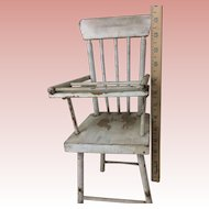"Vintage Wooden Doll Highchair Original Patina 13 and 1/2"" Tall"
