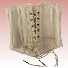 Fabulous Antique Lace Trimmed  Doll Corset  Marked Worcester