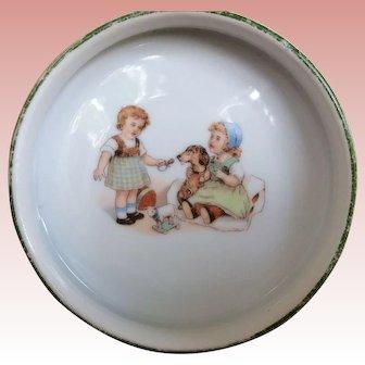 Glazed Porcelain Vintage Child's Alphabet Food Dish