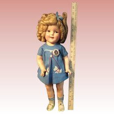 """18"""" 1936 Ideal Composition Shirley Temple Doll Rare Tagged Dress"""