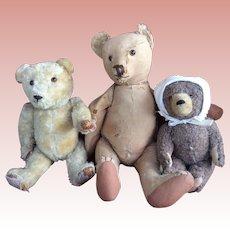 "Very loved mohair German Teddy Bear Furless 20"""