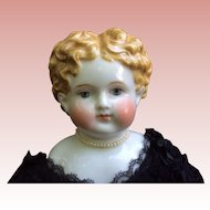 "21"" 1860s German China Doll Fabulous Golden Brown Hair Exposed Ears"