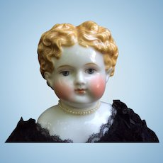 """21"""" 1860s German China Doll Fabulous Golden Brown Hair Exposed Ears"""