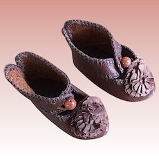 Antique 1880 Full Bee Paris Depose Stamped Juneau Doll Shoes Size 4