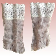 Wonderful Pair Of Vintage Lace Doll Socks Came With Jumeau Shoes