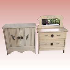 "Pair Of Doll Size Dresser With Mirror And Cabinet. Appx 11"" Tall"
