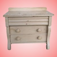 "1898 Antique Step back 3Drawer Doll Chest Of Drawers  8 & 1/2"" Tall"