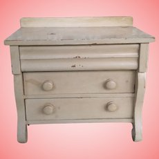 """1898 Antique Step back 3Drawer Doll Chest Of Drawers  8 & 1/2"""" Tall"""