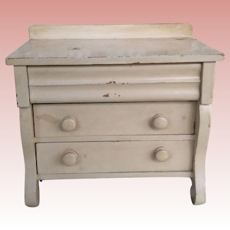 """1898 Antique Unusual Stepback 3Drawer Doll Size Chest Of Drawers  8 and 1/2"""" Tall"""