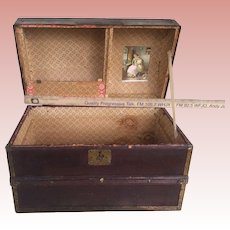 Nice Antique Childs Doll Humpback Trunk With Compartments