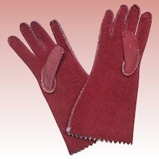 """Antique 1880 French Fashion Red Suede Leather Doll Gloves 2 and 3/4th """""""