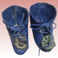 Antique French Fashion Blue Painted Doll Boots
