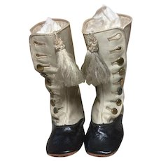 """Knee High Leather 2 Tone Boots For Large Doll 5 &3/4th"""" Tall"""