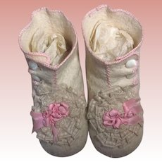 Fancy Wool Felt Baby or Baby Doll Booties/Shoes Vintage