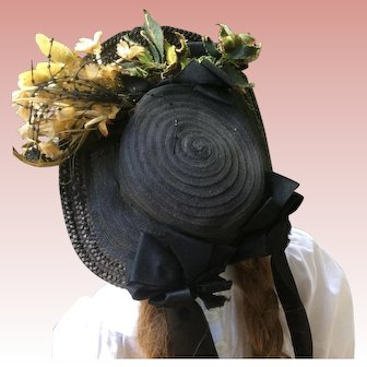 Beautiful Victorian Black Large Doll Bonnet With Flower Accent
