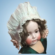 "Vintage Baby Bonnet 17"" Head Circumference Cotton Silk Rosebuds"
