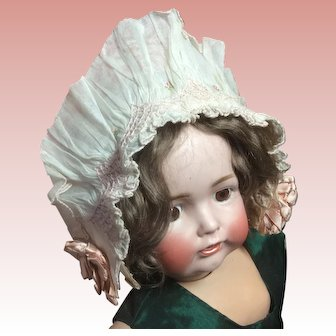 "Vintage Baby Bonnet 17"" Head Circumference Cotton Silk Rosebuds"