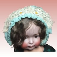 Beautiful Silk Baby Or Doll Bonnet With Embroidered Flowers.