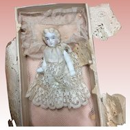 Stone Bisque Contained In. Vintage Chocolate Candy Box With Bedding.