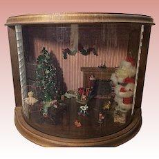 1/2 Round Artisan Wooden Christmas Roombox Diorama  1985