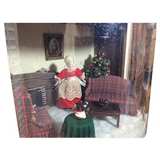 Second Room Box / Diorama With Mrs. Clause Real Wood Artist Designed 1985