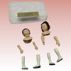 Pair Of Asian Porcelain Dollhouse Dolls Kit 1/12th Scale Handmade Wigs Ethel Hicks