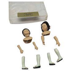 Pair Of Asian Porcelain Dollhouse Dolls Kit 1/12th Scale Handmade Wigs Ethel Hicks