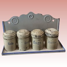 German Toy Tin Canister Set With Wall Holder