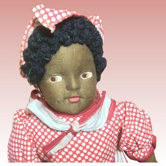 "16"" Black Mask Face Cloth Doll All Original"