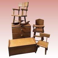 "Set Of 5 Vintage Pieces Wooden Strombecker 8"" Doll Furniture"
