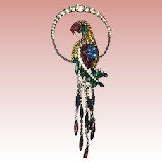 "6"" Beautifil Vintage Reinstone Parrot Pin"