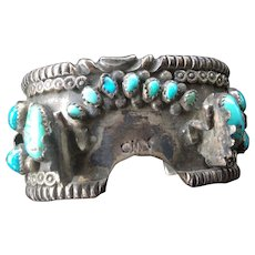 Native American Navajo Wide Silver &Turquoise Watch Bracelet