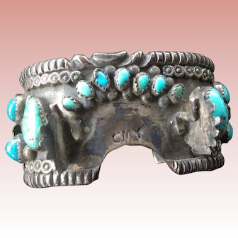 Native American Navajo Wide Silver &Turquoise Watch Bracelet