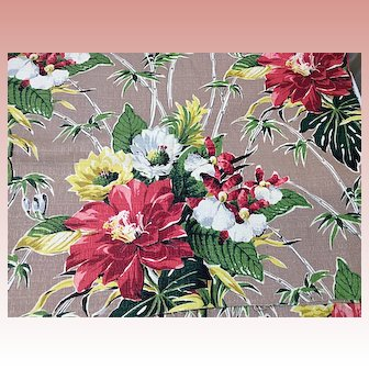 Vintage Bark Cloth unused  Size 144 inches x 48 inches Appx