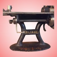 Child's Reliable Cast Iron Sewing Machine with Paperwork and Wooden Box