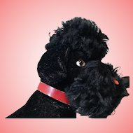 Rare Large 1950s Herman Black Mohair Poodle