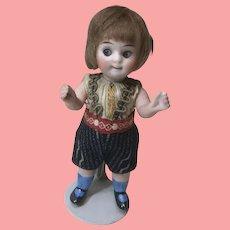 "Antique Kestner All Bisque All Original Googlie Boy Doll 4 & 1/2"""