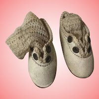 """Tiny Antique Leather Doll Shoes and Socks 1 & 1/2"""""""