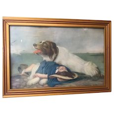 Nice Vintage Small Framed Picture Dog With girl Saved