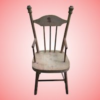 """15"""" Vintage Wooden Doll Chair With Decal"""