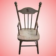 "15"" Vintage Wooden Doll Chair With Decal"