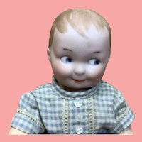 "6 &1/2""  Antique German Bisque Google Boy Doll"