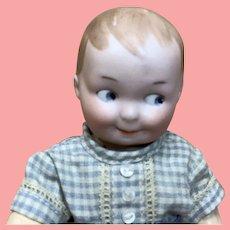 """6 &1/2""""  Antique German Bisque Google Boy Doll"""