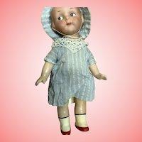 "7"" Antique German Bisque Google Girl Doll AM"