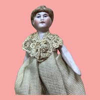 "Rare Little 3 & 1/2"" Hertwig All Bisque Antique Lady Doll"
