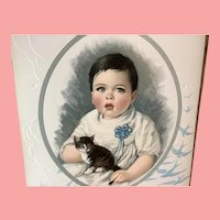 Beautiful Lithograph of A Painting by Harry Roseland Child &Kitten