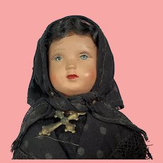 """French Celluloid Widow from Corsica Doll  8"""" All Original"""
