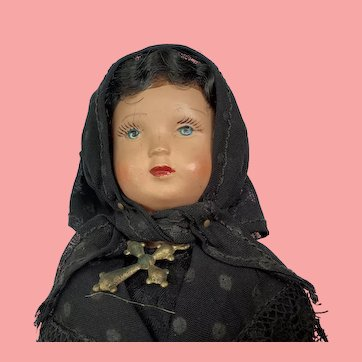 "French Celluloid Widow from Corsica Doll  8"" All Original"