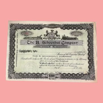 Reproduction of my Antique 1890s Schoenhut Stock Certificate