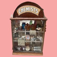 Loaded miniature handmade chemists store display case